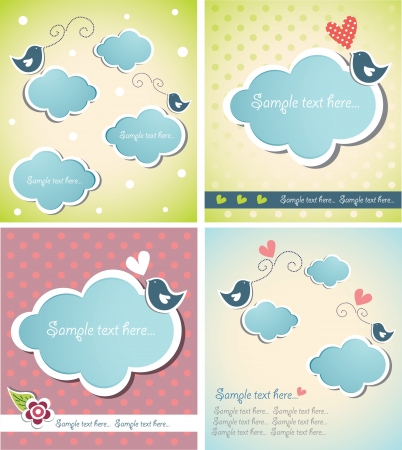 set of cute baby cards with clouds