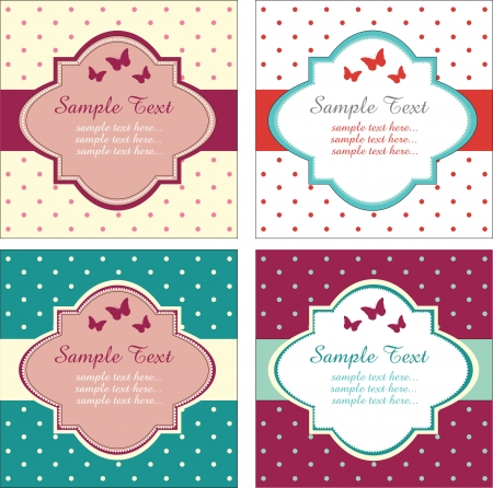 set of Retro Cards Vector