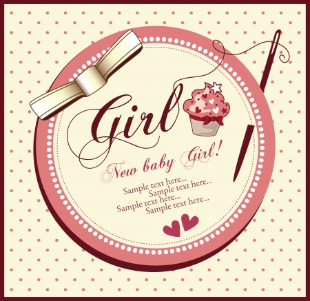 vector baby shower card girl