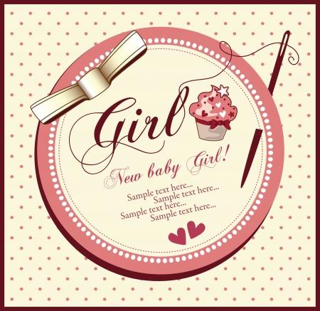 baby shower girl: vector baby shower card girl