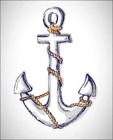 navy ship: old anchor Illustration