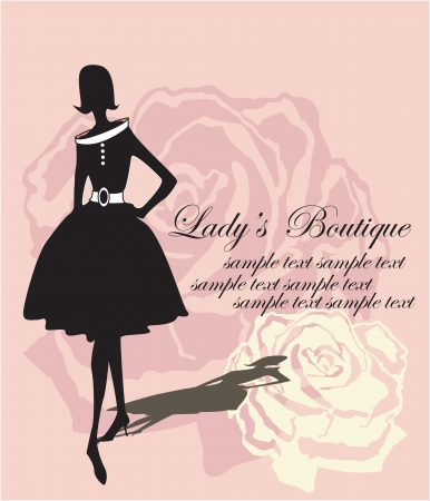 fashion boutique: silhouette on a rose background