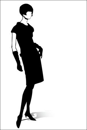 wintermode: Frau vintage Silhouette Illustration