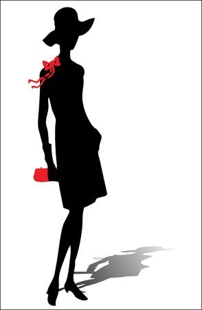 catwalk model: vintage donna, silhouette, illustrazione