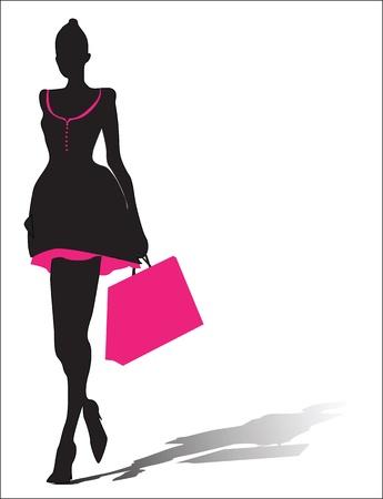 Silhouet van de vrouw met boodschappentas