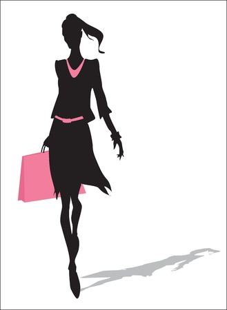 female silhouette: Woman silhouette with shopping bag
