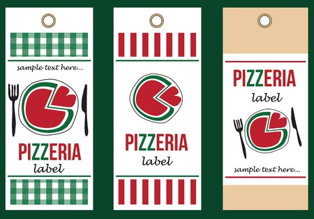 set of pizza labels