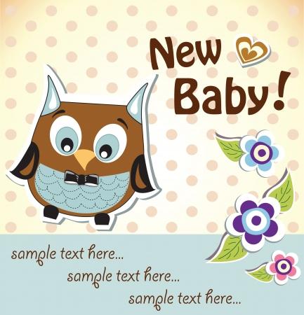 frau dusche: Babydusche owl-Karte