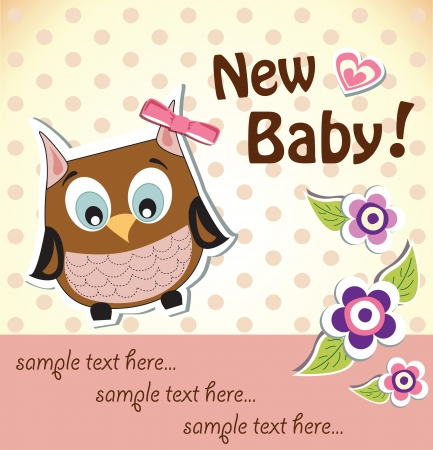 Baby girl shower owl card Stock Vector - 18983137