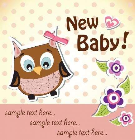 Baby girl shower owl card