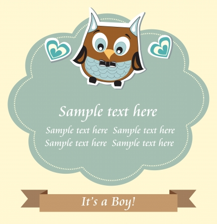 Baby boy shower owl card Vector