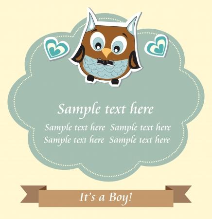 Baby boy shower owl card