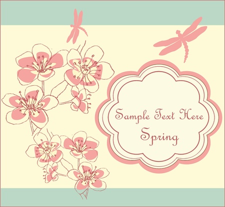 dragonfly greeting card Vector