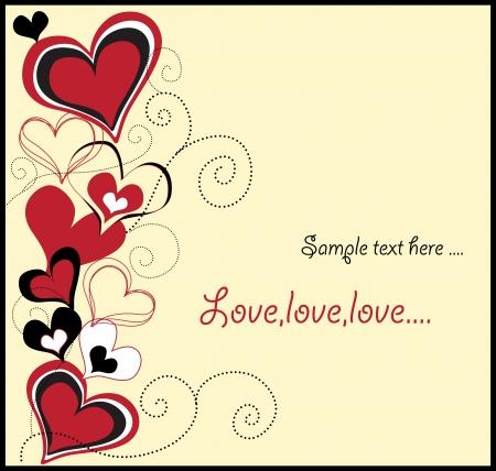 sweet love: amor tarjeta con corazones lindos