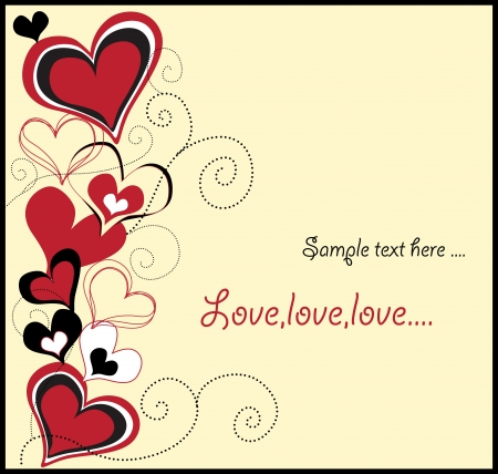 love card with cute hearts Vector