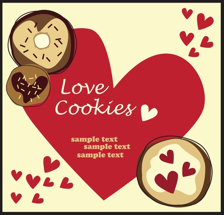 cookie love greeting card Vector