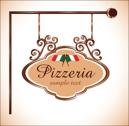 pizzeria label: pizzeria  sign