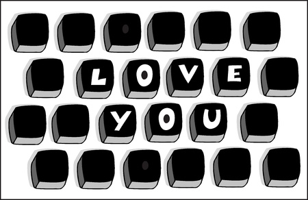 set of computer keys with words love you Stock Vector - 19080406