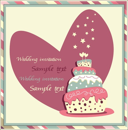 wedding invitation with a cake Vector