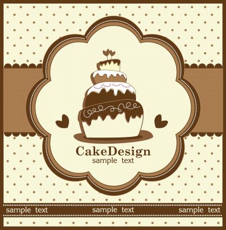 pink cake: wedding invitation with a cake Illustration
