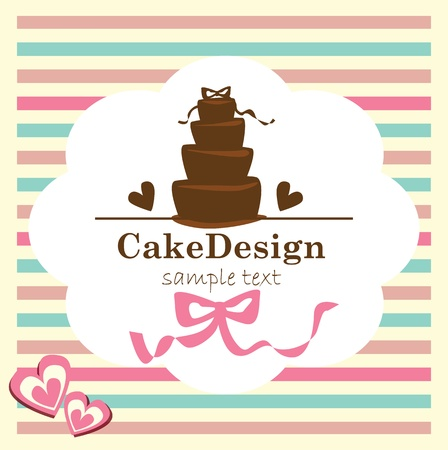 card with sweet wedding cake Stock Vector - 19080442