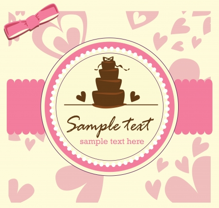 card with sweet wedding cake Stock Vector - 19080477