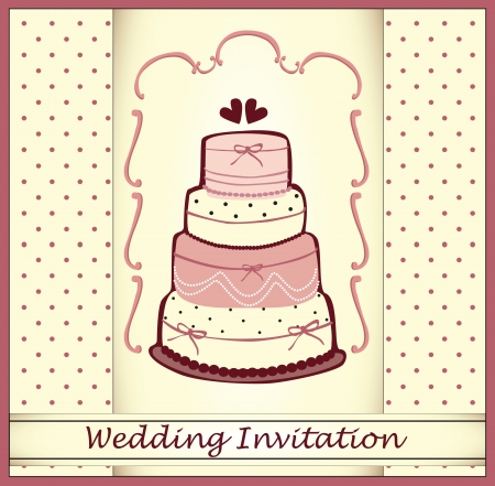 wedding cake: wedding invitation with a cake Illustration