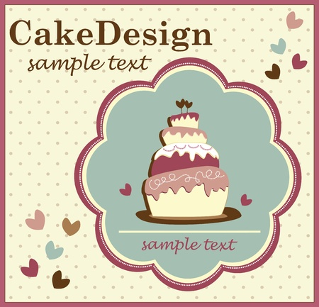 card with sweet wedding cake Stock Vector - 19080506