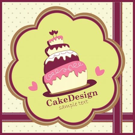 케이크: 달콤한 웨딩 케이크와 카드