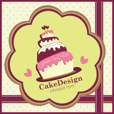 card with sweet wedding cake Stock Vector - 19080532