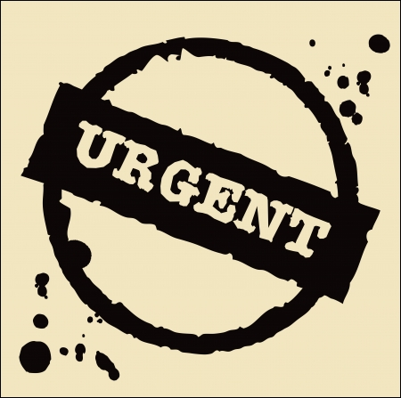 urgent grungy ink rubber stamp