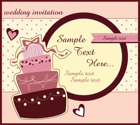 card with sweet wedding cake Stock Vector - 19619580