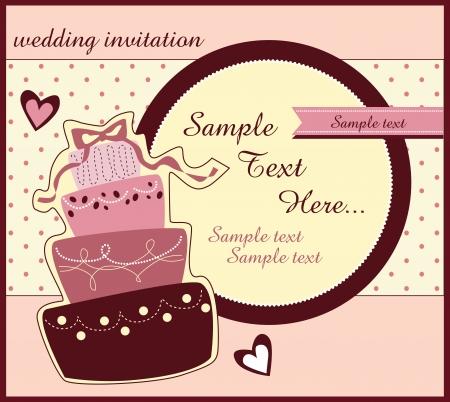 encantador: cart?o com bolo de casamento doce