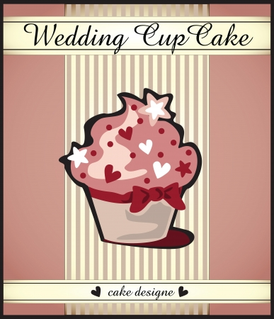 card with wedding or party cupcake Vector