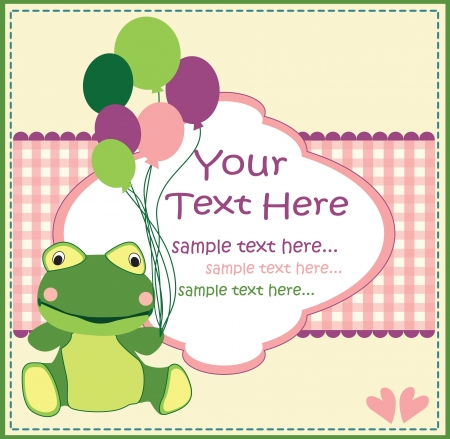 frog in love: baby card with cute  frog Illustration