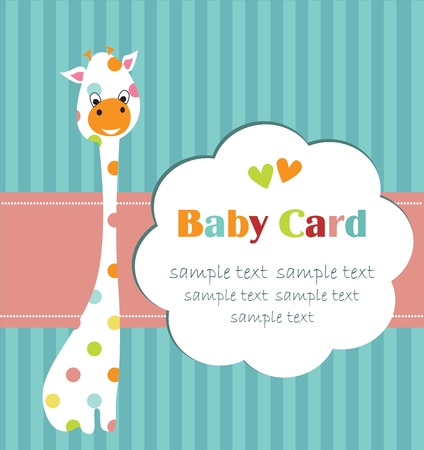 niños con pancarta: ducha de beb? con jirafa linda