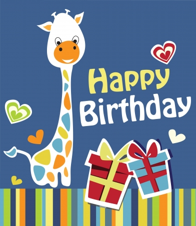 cute happy birthday card with nice giraffe  Vector