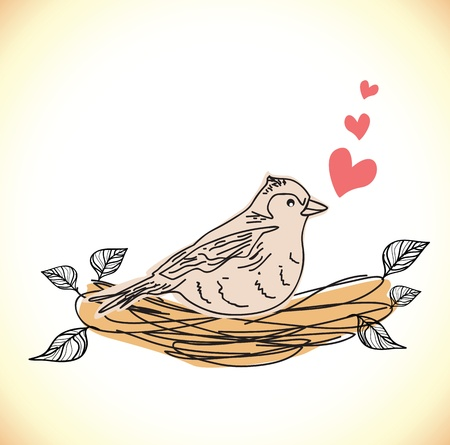 illustration of a bird  in a nest Vector