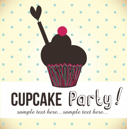 card with cup cake  illustration Vector