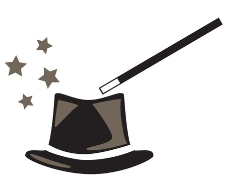 paranormal: magic hat and wand with sparkles