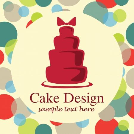 card with sweet wedding cake Иллюстрация
