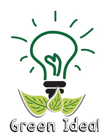 incandescent: light bulb green idea Illustration