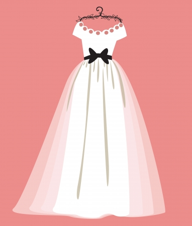 vector illustration of a beautiful wedding dress  Vector