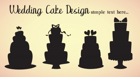 wedding cakes isolated silhouettes Illustration