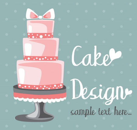 wedding cake: Vector wedding cake for Wedding invitations or announcements