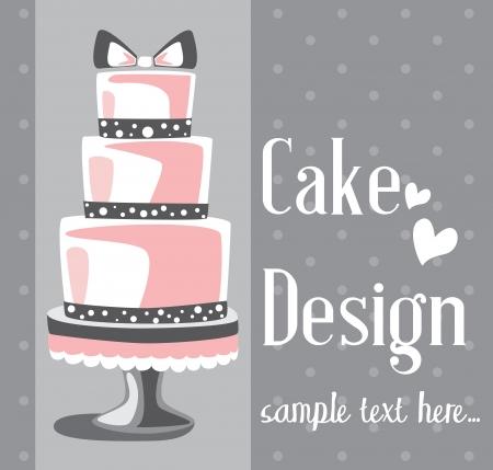 Vector la torta nuziale per gli inviti o gli annunci di nozze