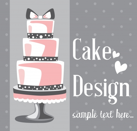 pink cake: Vector wedding cake for Wedding invitations or announcements