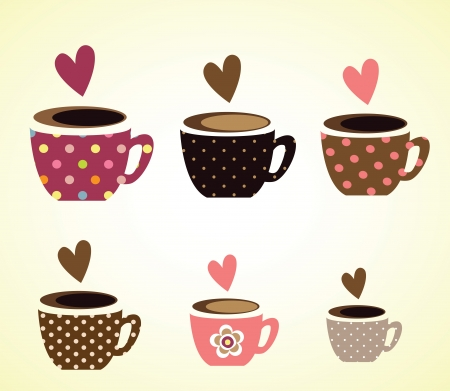 morning coffee: coffee cups vector