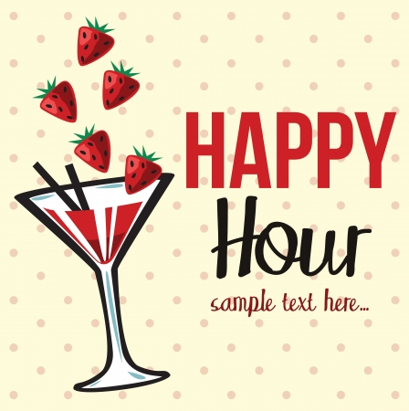 hour glasses: Vintage happy hour Invitation