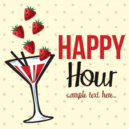 Vintage Uitnodiging happy hour Vector Illustratie
